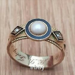 15ct Gold with Enamel & Pearls Victorian Mourning Ring 1902 Size Q