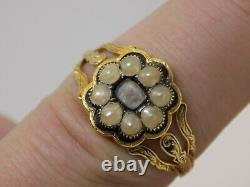 1835 Rare William IV Antique Gold Mourning Ring. Real Hair. Engraved. Size S 1/2