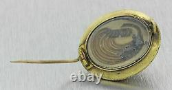 1880s Antique Victorian Mourning 14k Yellow Gold Banded Agate Enamel Brooch Pin