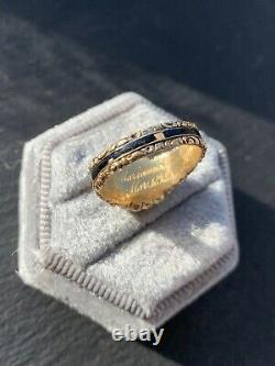 18ct Yellow Gold Antique Pearl Locket Front Mourning Band Ring Black Enamel