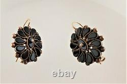 ANTIQUE 14 KT GOLD BLACK ONYX with SEED PEARLS MOURNING EARRINGS