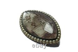 ANTIQUE ENGLISH GOLD PEARL SEPIA MINIATURE MOURNING PENDANT / BROOCH c1780