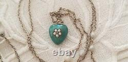 ANTIQUE VICTORIAN 1OK ENAMEL PEARL HEART mourning jewelry hair PENDANT NECKLACE