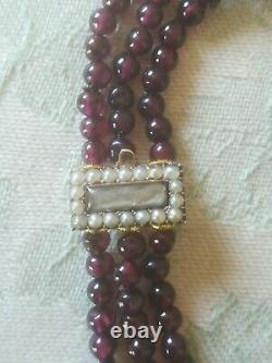 Antique 14k Yellow gold, 3 Strands Garnet Mourning Bracelet, seed pearls clasp