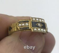 Antique 15ct Gold Black Enamel, Diamond and Seed Pearl Mourning Ring Size O