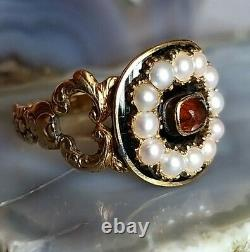 Antique 1828 Georgian Inscribed Enamel Pearl Citrine Mourning Ring 18ct