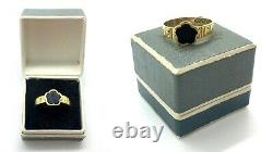 Antique 1833 18ct Gold Forget Me Not Onyx Stone Engraved Mourning Ring Size O