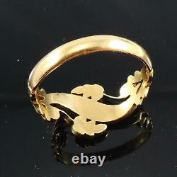 Antique 18Carat Yellow Gold Pearl & Enamel Floral Mourning Ring 1904