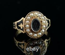 Antique 18ct gold mourning ring, pearl and black enamel, hairwork, boxed, Edward