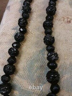 Antique 29 Carved Whitby Jet Graduated Mourning Necklace