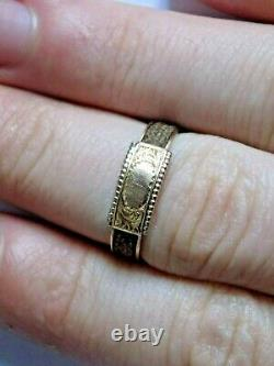 Antique 9ct Gold Mourning Ring. Real Hair. Circa 1900s. SIZE N-O 1.9 GRAMS