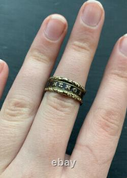 Antique Black Enamel Mourning Band Pinchbeck Ring In Memory Of