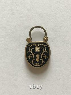 Antique Black Enamel Victorian Hinged Lock With Hair, 10-14k Gold, Mini, Mourning