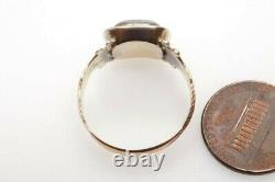 Antique Early Victorian English 9k Gold Glass Locket Mourning Ring