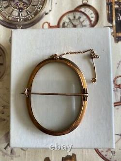 Antique English Victorian Edwardian 9ct Gold Double Glass Mourning Locket Brooch