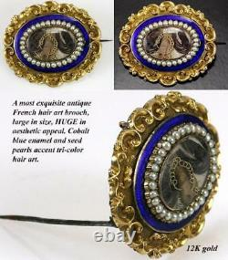 Antique French Hair Art Locket, Enamel Mourning Brooch, 12K Gold & Seed Pearls