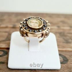 Antique French YellowithRose Gold Miniature Portrait Mourning Ring H/I