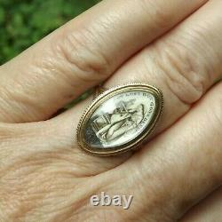 Antique Georgian 14k Gold Mourning Sepia Woman Tomb Not Lost Inscribed 1783 Ring