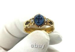 Antique Georgian 15ct Gold Onyx & Seed Pearl Cross Intaglio Hair Mourning Ring T