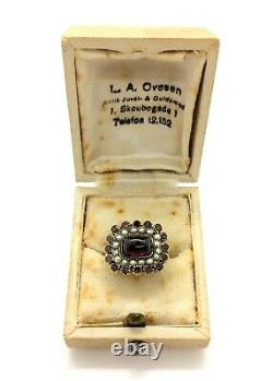 Antique Georgian 15ct Gold Plated Almandine Garnet & Seed Pearl Mourning Ring M
