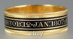 Antique Georgian 22K Gold Aristocracy Mourning Ring KNIGHT BARONET 1807 India S8