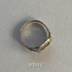 Antique Georgian Gold Garnet Mourning Ring In A Vintage Jewellery Box