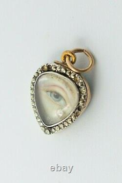 Antique Georgian Lovers Eyes with a Diamond Tear Drop Mourning Heart Pendant