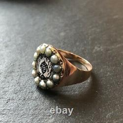 Antique Late Georgian Sepia & Pearl Gold Mourning Ring