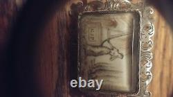 Antique Mourning Brooch Sepia Navette Sterling
