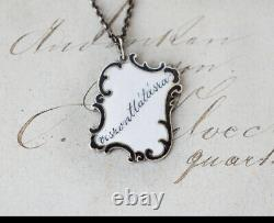 Antique Mourning Jewelry Charm Pendant Black Enamel- Sterling Silver