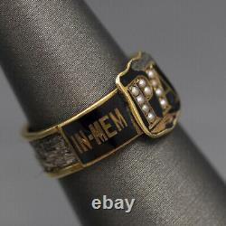Antique Mourning Ring with Seed Pearls and Black Enamel in 14k Yellow Gold
