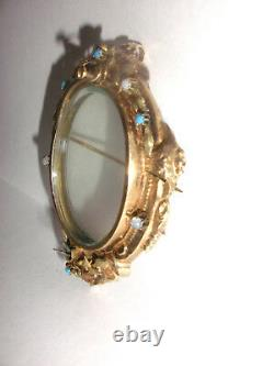 Antique Victorian 10k gold frame painting mourning photo locket pendant brooch