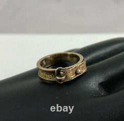 Antique Victorian 14K Rose Gold Mourning Tightly Woven Hair Buckle Dainty Ring