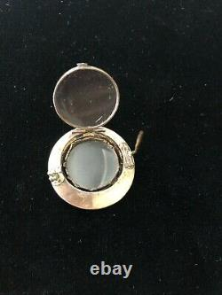 Antique Victorian 14k Yellow Gold Mourning Locket Seed Pearl