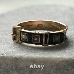 Antique Victorian 15ct Gold Black Enamel Pearl Mourning Buckle Ring