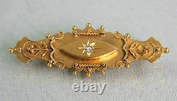 Antique Victorian 15ct Gold Diamond Etruscan Locket Back Mourning Brooch c1890