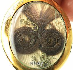 Antique Victorian 1867 mourning locket 21K Y/G withhair horseshoes emeralds pearls