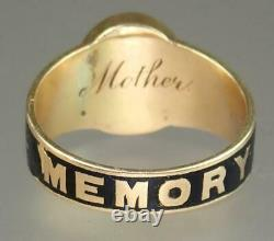 Antique Victorian 18K Gold Enamel Hair IN MEMORY OF MOTHER Mourning Ring Sz 6.5
