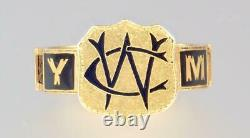 Antique Victorian 18K Gold Enamel Hair Mourning Ring CUNINGHAM WC 1891 Sze 7 3/4