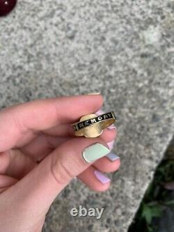 Antique Victorian 18 Carat Gold Enamel In Memory Of Mourning Ring
