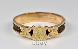 Antique Victorian 18ct Gold Plaited Hair Mourning Ring, c1880