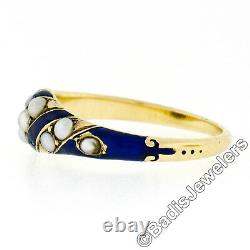 Antique Victorian 18k Yellow Gold Natural Seed Pearl & Blue Enamel Mourning Ring