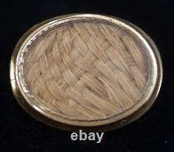 Antique Victorian 9kt Gold Mourning Braided Hair Locket Pin