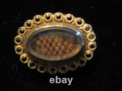 Antique Victorian Era Mourning Jewelry Brooch Gold Filled Hair Brooch