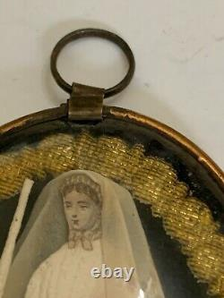 Antique Victorian Georgian Bride Mourning Jewelry Pendant with Convex Glass