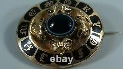 Antique Victorian Gold Enamel Agate Cabochon Mourning Brooch In Memory Of 9.4g