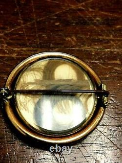 Antique Victorian Gold Plated / Filled Mourning Swivel Cameo Hair Pin Brooch