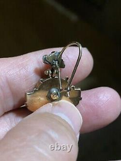 Antique Victorian Gold Seed Pearl Jet Onyx Mourning Earrings 8 grams