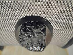 Antique Victorian Gutta Percha Cameo Brooch Whitby Jet Mourning Vulcanite Gothic