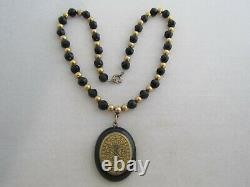 Antique Victorian Jet Black Glass Gold Filled Bead Mourning Necklace